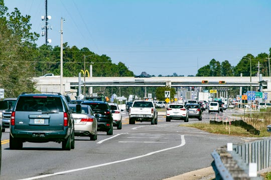 Motorists using Avalon Boulevard sit in heavy traffic congestion on Tuesday, Nov. 17, 2020. Since Hurricane Sally took out Pensacola Bay Bridge, the Santa Rosa County thoroughfare has become one of the main roadways connecting U.S. Highway 98 in the county's south end with Pensacola.