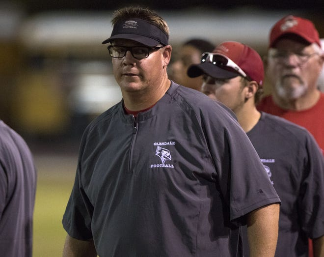 Glendale head coach Rob York watches his team against Independence in Glendale Friday, Aug. 31, 2018. #azhsfb (Darryl Webb/For the Republic)