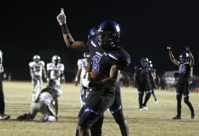Chandler's Eli Sanders (6) celebrates his fourth quarter touchdown against Hamilton during the second half of their game in Chandler, Friday, Nov. 1, 2019.