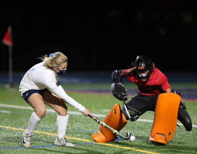 Arlington's goalie, Amanda CImillo attempts to block John Jay's Peyton Ohrvall's shot during the overtime shootout in Monday's semifinal on November 16, 2020.