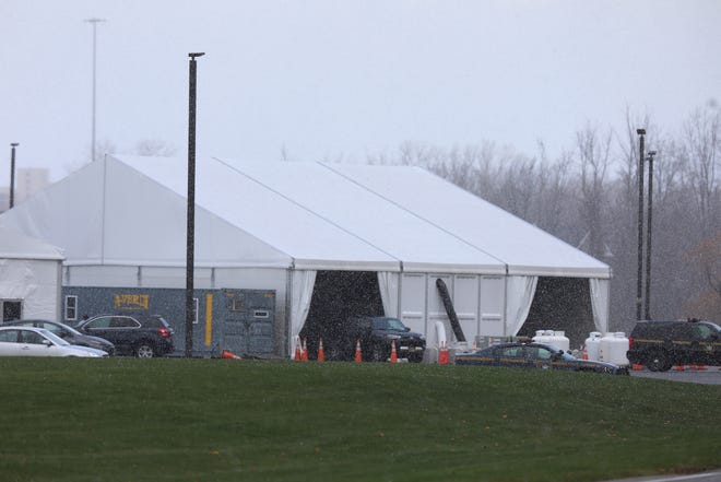 The COVID-19 testing site at Monroe Community College now has more permanent tents set up for cars to drive through.  Testing sites like this one on Nov. 17, 2020 are busier.  Monroe County had a record 315 positive test results yesterday.