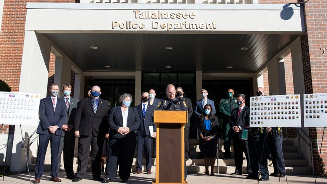 Tallahassee Chief of Police Lawrence Revell speaks during a press conference regarding Operation Stolen Innocence on Tuesday, Nov. 17, 2020.