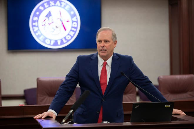 Senate President Wilton Simpson speaks to the press during the Florida Legislature's Organization Session at the Florida Capitol Tuesday, Nov. 17, 2020.