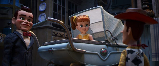 "Christina Hendricks voices Gabby Gabby, the doll who strolls in a baby carriage at Second Chance Antiques in ""Toy Story 4."""