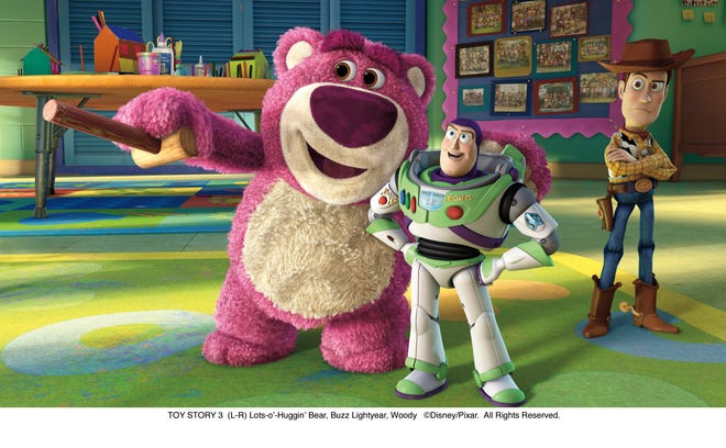 "Lots-o'-Huggin' Bear, voiced by Ned Beatty, welcomes Buzz and Woody to Sunnyside Daycare in ""Toy Story 3."""