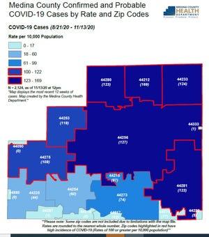 Medina County COVID-19 map.