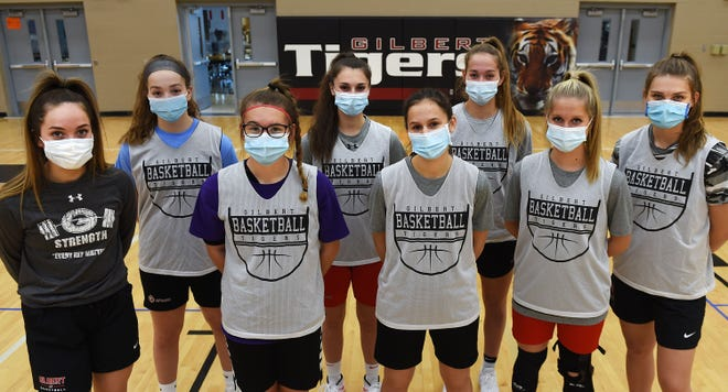 Gilbert has high hopes for the 2020-2021 girls' basketball season. The Tigers return 14 of their 16 varsity players off last year's 19-4 team that made the state tournament. The senior and junior team members looking to lead the Tigers this winter are (from left): Emma Kruse, Ellie Bulman, Grace Ellingson, Ava Hawthorne, Skylar Hillmann, Emma Bulman, Katie Currans and Thea Rotto. Not pictured: Nessa Johnson.
