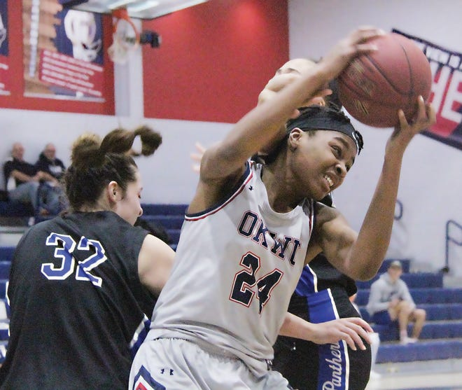 Essence Tolson, shown from last season, has been a missing component the first five games for the Oklahoma Wesleyan University women's basketball. Coach Grace Hadley hoped to have her back for December.