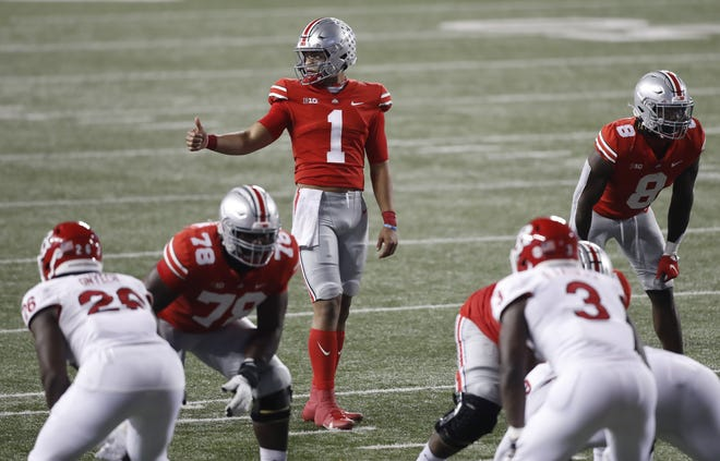 With 11 touchdown passes and only the same number of incompletions, Justin Fields' play as Ohio State quarterback has been worthy of a thumb's up.