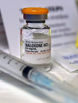 A small bottle of the opiate overdose treatment drug, Naloxone, also known by its brand name Narcan.