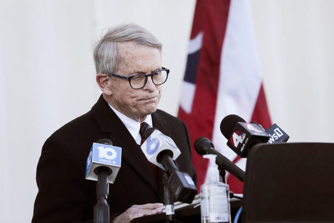 Gov. Mike DeWine, speaking in front of Lane Aviation in Columbus on Wednesday, spells out the measures the state will be taking to address the rising COVID-19 rates in Ohio.