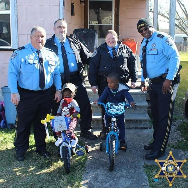 Scene from a recent Christmas bike giveaway in Lafourche.