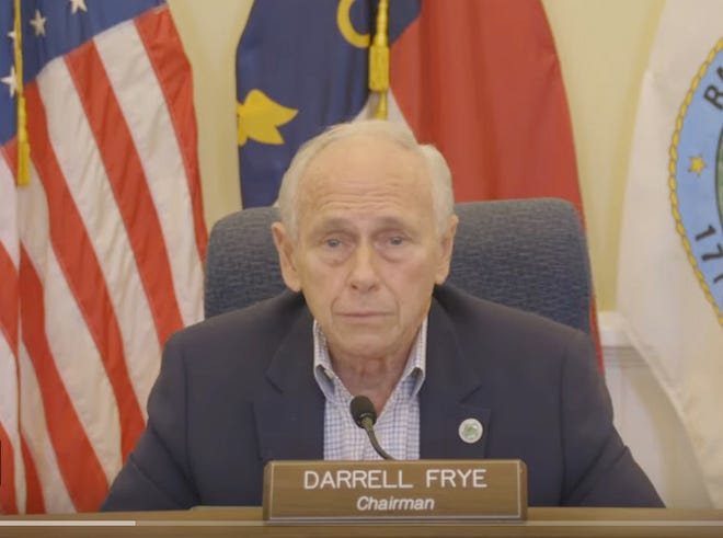 Randolph County Commissioners Chairman Darrell Frye tapes a message for Randolph County on Tuesday, Nov. 17, 2020.