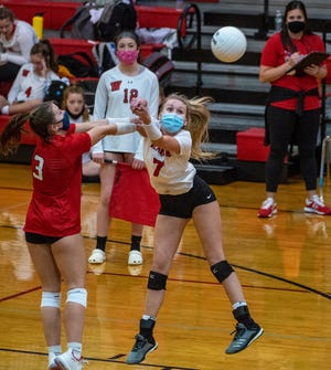 Wheatmore's Carson Elliott hits the ball against Randleman during the first PAC-7 volleyball match of the 2020 season at Wheatmore High school in Trinity on Nov. 17.