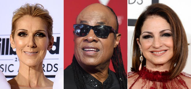 This combination photo shows performers, from left, Celine Dion, Stevie Wonder and Gloria Estefan, who are among the entertainers honoring nurses in a star-studded benefit virtual concert on Thanksgiving.