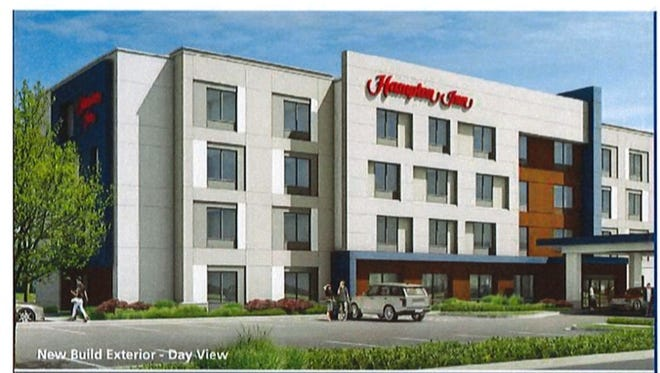 Rendering of the Hampton Inn slated to be built at the Hornell Plaza next year.