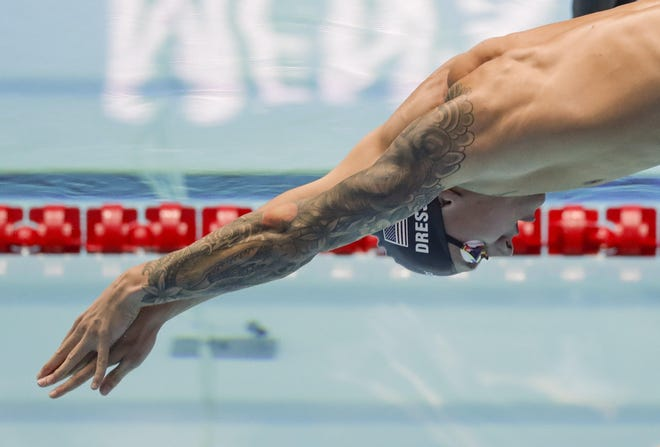 Green Cove Springs native Caeleb Dressel, pictured in action at the world championships, set two swimming world records Saturday in Hungary.