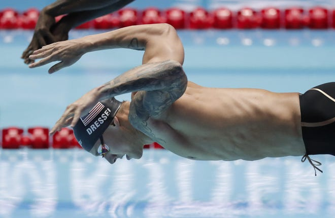 Caeleb Dressel starts in the men's 100-meter butterfly at the 2019 world championships. The Clay High School graduate is a favorite in multiple events at the U.S. Olympic Trials.