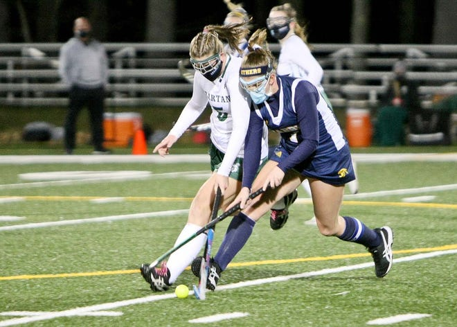 Oakmont's Ella Lafortune, left, and Quabbin's Michelle Tremblay battle for possession of the ball during the Spartans' 6-3 loss to the visiting Panthers, Tuesday evening, at Arthur I. Hurd Memorial Field in Ashburnham.