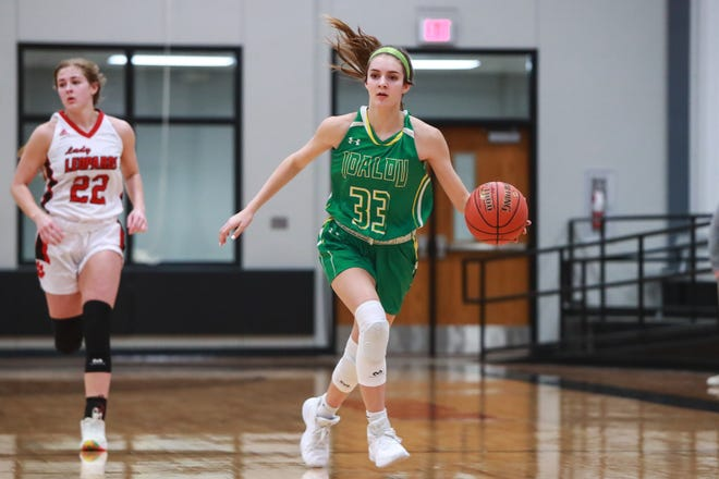 Idalou's Logan Heard (33) brings the ball up the court against New Home on Nov. 17 at New Home High School in New Home. Heard netted a career-best 37 points to  help the Lady Wildcats secure a 66-51 road win over Frenship late Tuesday.
