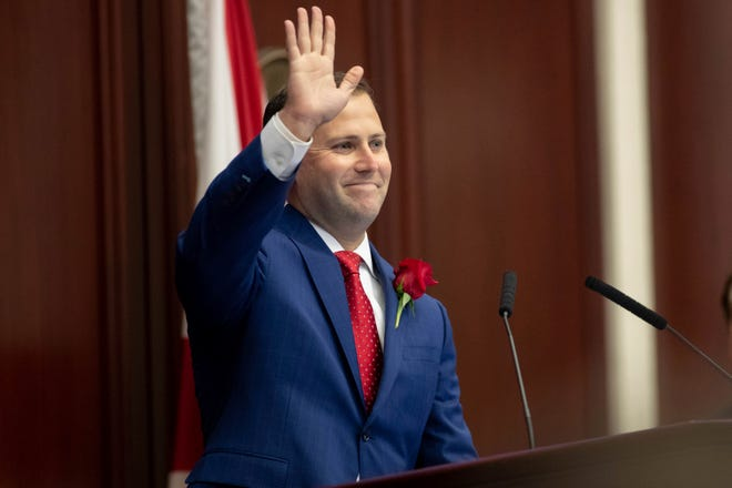 House Speaker Chris Sprowls makes his first speech in his new position during the Florida Legislature's Organization Session in Tallahassee on Tuesday.