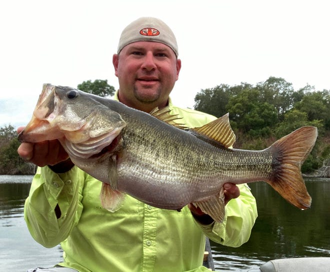 Adrian Stanfill of Lakeland caught this 8.2-pound largemouth bass while fishing at Tenoroc Fish Management Area recently.
