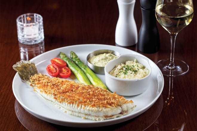 Menu items at Henry's include butter-crumb Dover sole.
