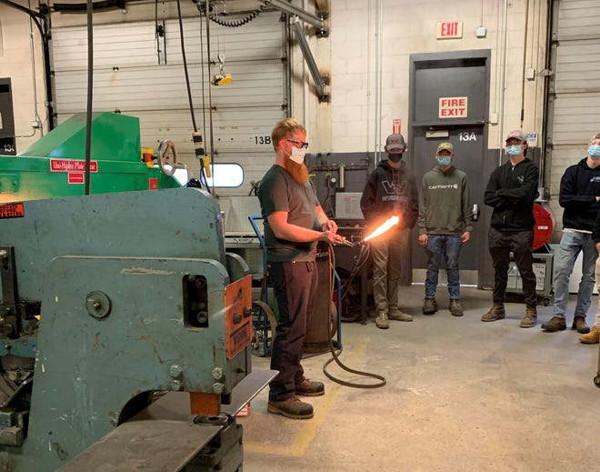 Seacoast School of Technology Welding Instructor, Joseph Biladeau, demonstrates how to set a neutral flame for welding with the Oxy-Fuel process.