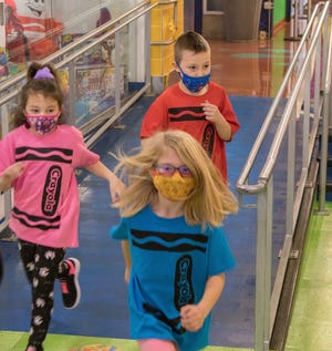 Mia Gorgoglione, Aubrey Blecher,  Jacob Kozak participated in Crayola's 96 Seconds of Color holiday event held Nov. 17 in Easton, Pa. [PHOTO PROVIDED]