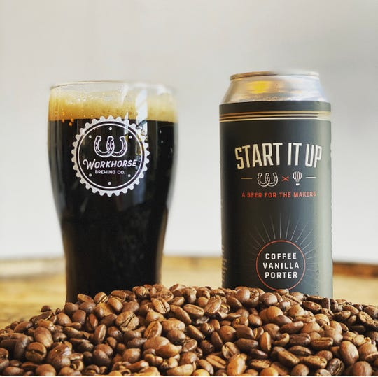 Start It Up, a collaboration between Workhorse Brewing Company and Saxbys Coffee, is a popular winter porter.