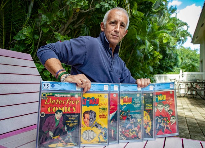 Comic book collector Randy Lawrence, who had valuable books stolen from a storage facility in Boca in late 2018, has recovered stolen items and they are going up for auction this week. (ALLEN EYESTONE/THE PALM BEACH POST)