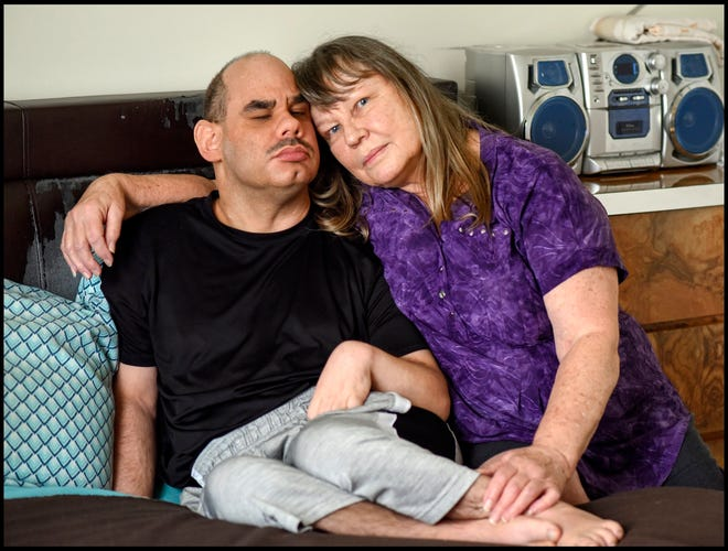 David Whaley, 46, has seizures, cerebral palsy and an intellectual disability. He lives with his mother, Linda in Palm Springs. [MELANIE BELL/ palmbeachpost.com]