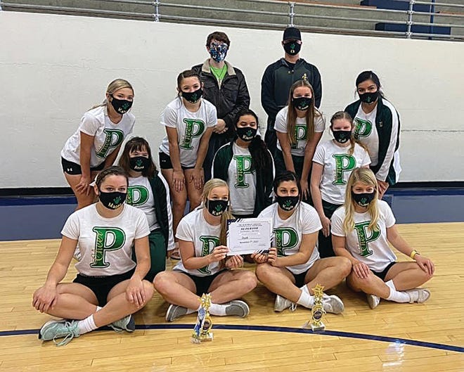 Pratt cheerleaders (back, from left) Rafe Donnenwerth and Eli Staats, , (second row) Kena Sterling, Jadyn Thompson, Airam Fernandez, (kneeling) Anna Lamatsch, Kierra Messick, Kari FitzSimmons, and (front) Maggie Haas, Kami Theis, Kayla Espino, Sterling Rector put together several successful  performances earlier this month in Hays.