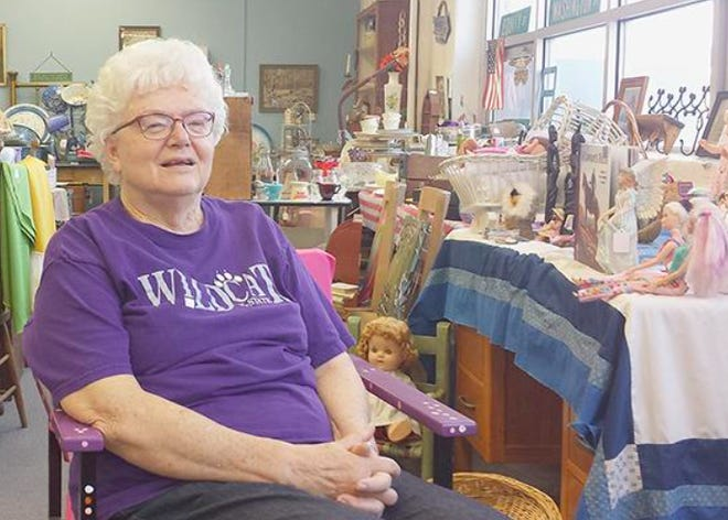 Doris Headrick (pictured) and Susan Clayton (not pictured) admit they are emotionally connected to the building and the items they sell at The Old School Antique mall in Mullinville.