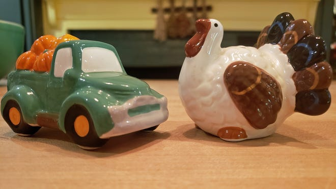 I'm grateful I can pull out my cute salt and pepper shakers for Thanksgiving.