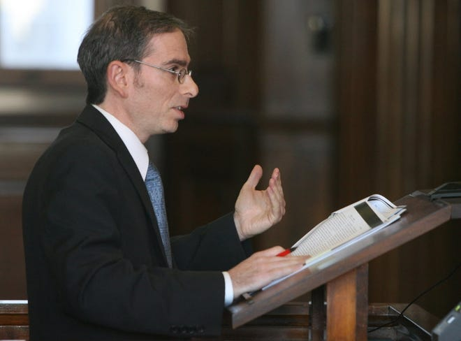 U.S. Attorney in Rhode Island, Aaron Weisman, then an assistant attorney general, argues a case before the Rhode Island Supreme Court in 2011.