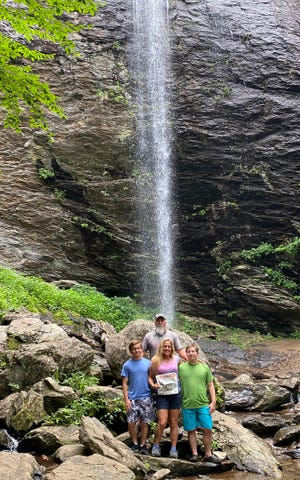 North Carolina waterfall: The Anselmo family takes a break in July in North Carolina to visit grandparents.