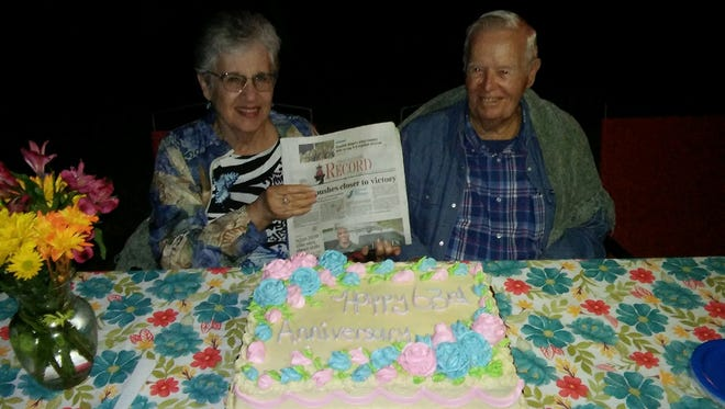 Nancy and Jackie Bennett traveled all the way next door to celebrate their 63rd wedding anniversary. They got married Nov. 3, 1957.