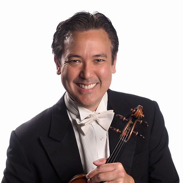 """Christopher Takeda, assistant concertmaster for the Sarasota Orchestra, led the chamber musicians in the program """"Serioso."""""""
