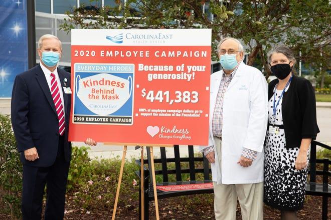 Ray Leggett, CarolinaEast CEO/President, Dr. Reed Underhill, CarolinaEast Urologist and Campaign Donor, Jill Thompson, CarolinaEast Foundation Executive Director unveil the 2020 Employee Campaign total.