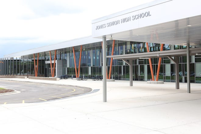 Exterior view of the new Trenton Elementary - Jones Senior High School.   [John Althouse / The Daily News]