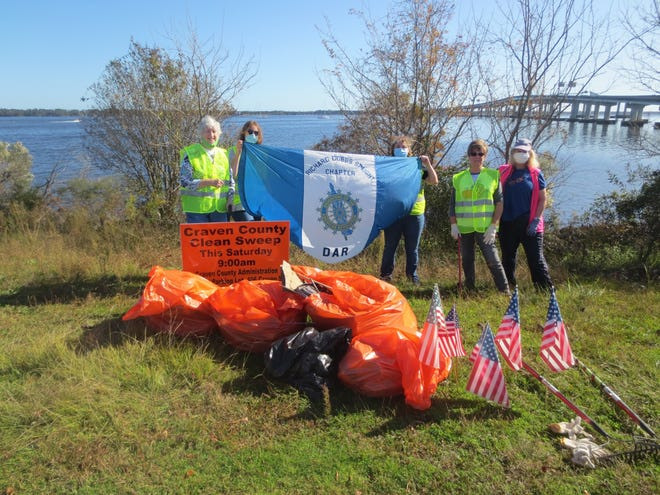 The Richard Dobbs Spaight Chapter, Daughters of the American Revolution (DAR), joined Craven County Clean Sweep on Nov. 7. The Chapter's Conservation Committee joined other members of the community to clean up litter along the shoreline of our rivers. To learn more about the work of today's DAR, visit www. DAR.org. Pictured are DAR members Rosie Wood, Paden Kitchen, Sims Wayt, Judi Dorn and Mary Lynne Keener. [CONTRIBUTED PHOTO]
