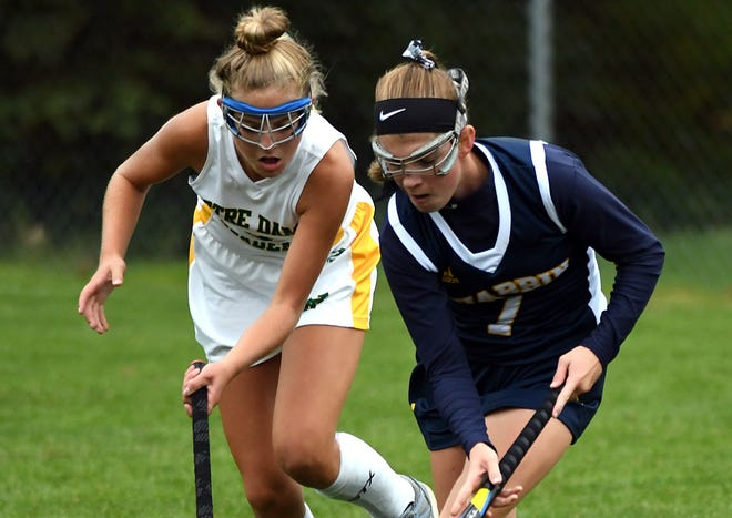 Notre Dame's Molly Vinton, left, will attend and play field hockey at Holy Cross next fall.
