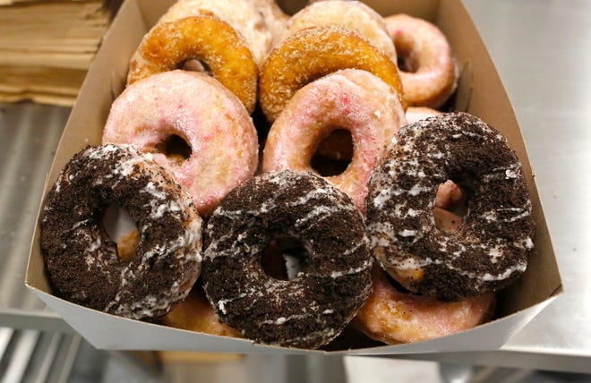 A variety box of doughnuts from Halo Potato Donuts at the shop's store on south Main Street. The breakfast pastry shop, which creates yeast and cake doughnuts using potato flour, is building a new location at 209 NW Tower Road, which is expected to open late summer or early fall 2021.