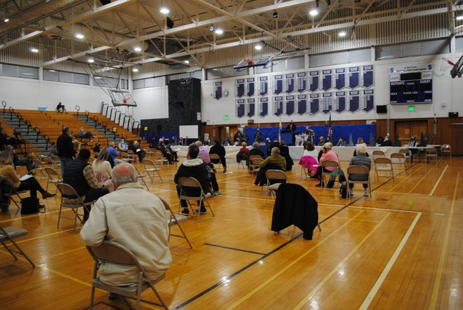 Approximately 80 residents, wearing masks and practicing safe social distancing, attended special Town Meeting on Monday, Nov. 16.