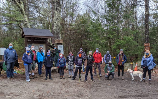 Members of Bedford Boy Scout Troop 194 prepare for a hike at Mt. Watatic in Ashburnham.