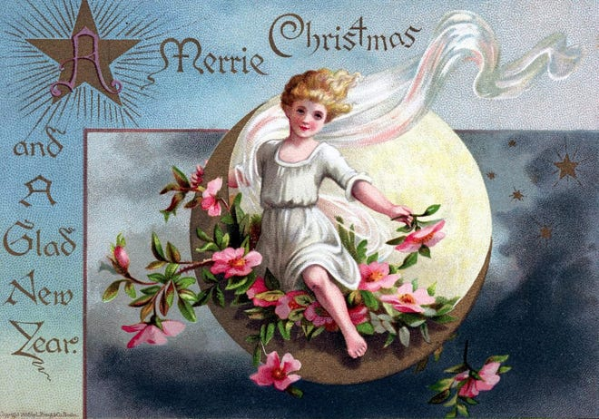 """""""A Merrie Christmas and a Glad New Year,"""" Boston: L. Prang & Co., 1885. From the PAS Archives."""