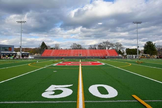 "A red ""S"" marks the center of the field at the Saugus Middle-High School stadium."