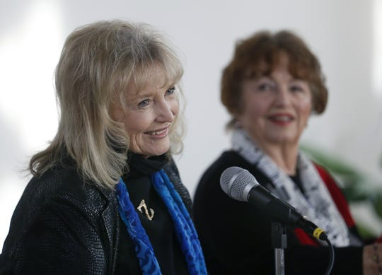 """Karolyn Grimes, who played Zuzu Bailey in """"It's a Wonderful Life,"""" during a news conference at Wesleyan Chapel in Seneca Falls, New York, in 2016."""