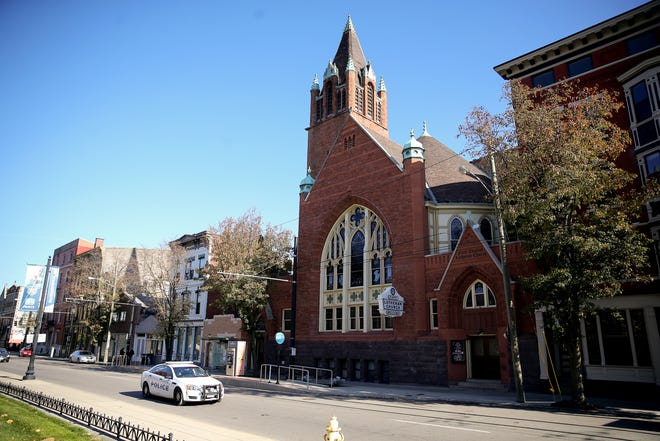 The bell tower at First Lutheran Church built in 1885, pictured, Wednesday, Nov. 18, 2020, has been deemed a hazard to public safety by the city and is scheduled to torn down.